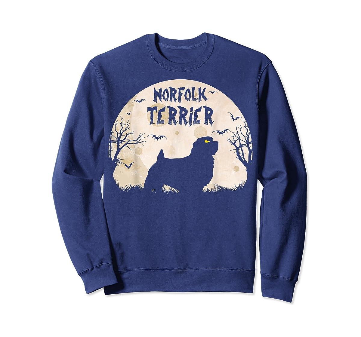 Halloween Horror Norfolk Terrier  T-Shirt-Sweatshirt-Navy