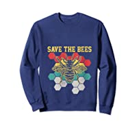 Save The Bees Vintage Retro Beekeeping Beekeeper Gift Shirts Sweatshirt Navy