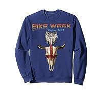 Bike Week Bull Head Skull Motorcycle T Shirt Sweatshirt Navy