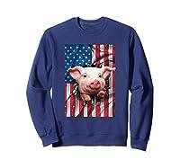 Pig American Flag Gift Funny 4th Of July America Shirts Sweatshirt Navy