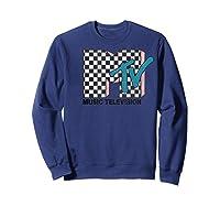 Mtv Checkered Logo Pink Shadow Turquoise Tv Graphic T-shirt Sweatshirt Navy