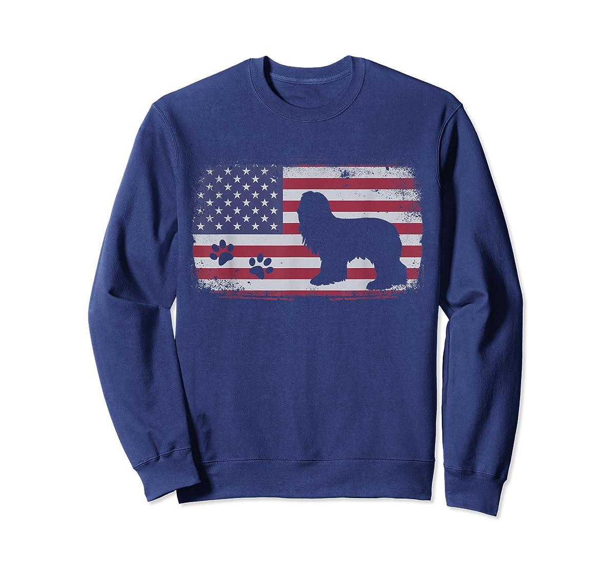 Vintage American Flag Bearded Collie Dog T-Shirt-Sweatshirt-Navy