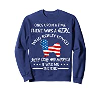 Once Upon A Time Shih Tzu America 4th Of July T Shirt Gift Sweatshirt Navy
