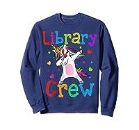 Library Crew Dabbing Unicorn 1st Day Of School Shirts Sweatshirt Navy