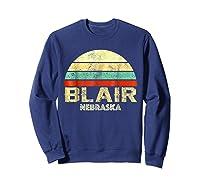 Blair Ne Nebraska Vintage Retro Sunset Tee T Shirt Sweatshirt Navy