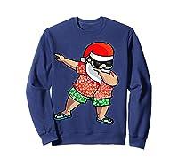 Dabbing Santa Christmas In July Hawaiian Shirt Gift Sweatshirt Navy