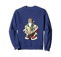 Gay Pride Month Santa Lgbtqqiaap Christmas Rainbow Holiday Shirts Sweatshirt Navy