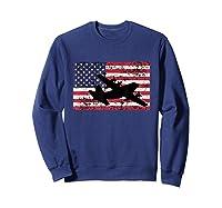 Patriotic C-130 Hercules Airplane American Flag T-shirt Sweatshirt Navy