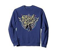Rock Roll Guitar Wings School Of Rock Music Shirts Sweatshirt Navy