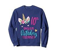 Unicorn 10th Magical Birthday Sleepover Party Girl Shirts Sweatshirt Navy