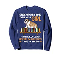 There Was A Girl Loved Book And Bulldogs Tshirt Gifts Sweatshirt Navy