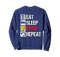 Eat Sleep Pitch Repeat Softball Player Pit Coach Premium T-shirt Sweatshirt Navy