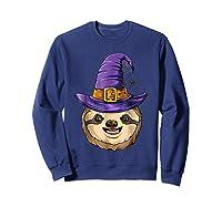 Sloth Witch T Shirt Halloween Girls Funny Costume Sweatshirt Navy
