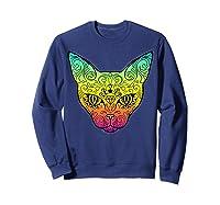 Techno Trance Edm Club Day Of The Dead Cat Sugar Skull Shirts Sweatshirt Navy