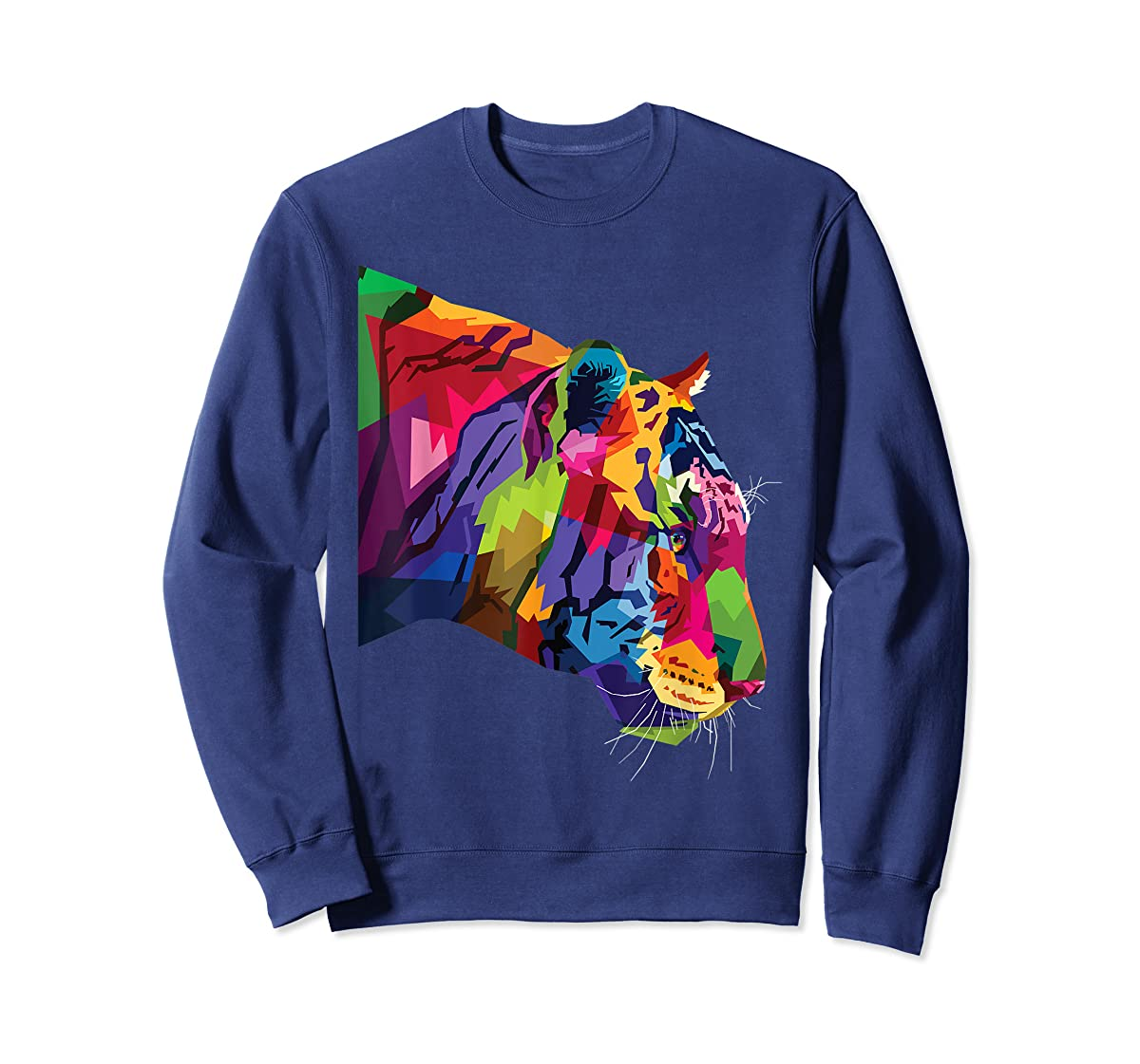 Tiger Shirt : Colorful Tiger's head Pop Art Style T-Shirt-Sweatshirt-Navy