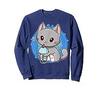 Kawaii Japanese Anime Cat Bubble Tea - Neko Kitty T-shirt Sweatshirt Navy