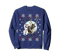Frozen Olaf Sven Warm Wishes Ugly Sweater Shirts Sweatshirt Navy
