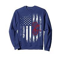 Vintage American Usa Flag Bicycle T-shirt Bicyclist Gift Sweatshirt Navy