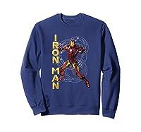 Marvel Avengers Assemble Iron Man Tech Graphic T-shirt Sweatshirt Navy