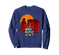 Red Horse Sunset T Shirt Honor Respect Loyalty Cowboy Sweatshirt Navy