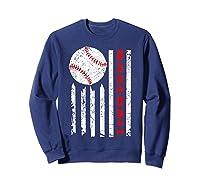 American Flag Baseball | July 4th Usa Flag Patriotic Design T-shirt Sweatshirt Navy