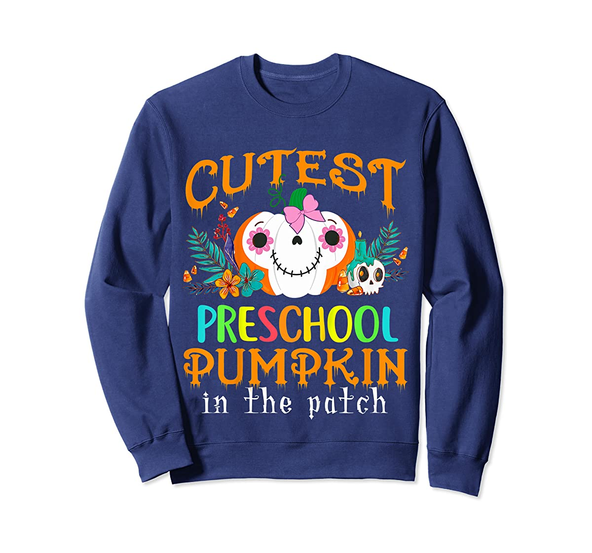 Kids Cutest Preschool Pumpkin In The Patch Halloween Costume Girl T-Shirt-Sweatshirt-Navy