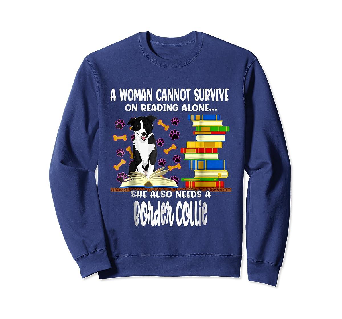A Woman Reading Book Dog Border Collie Shirt-Sweatshirt-Navy