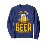 Funny Beer And Fishing Fathers Day Gift Adult Humor Shirts Sweatshirt Navy