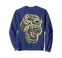 Angry Great Ape Art T-shirt Fierce Silverback Gorilla Face Sweatshirt Navy