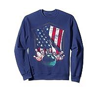 Vintage Bowling T Shirt American Usa Flag Bowling T-shirt Sweatshirt Navy