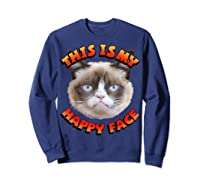 Grumpy Cat This Is My Happy Face Graphic Shirts Sweatshirt Navy