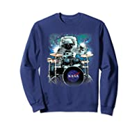 Nasa Space Drum Playing Astronaut Premium Graphic T-shirt Sweatshirt Navy