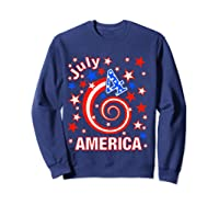 Festive 4th Of July, Independence Day Design Shirts Sweatshirt Navy