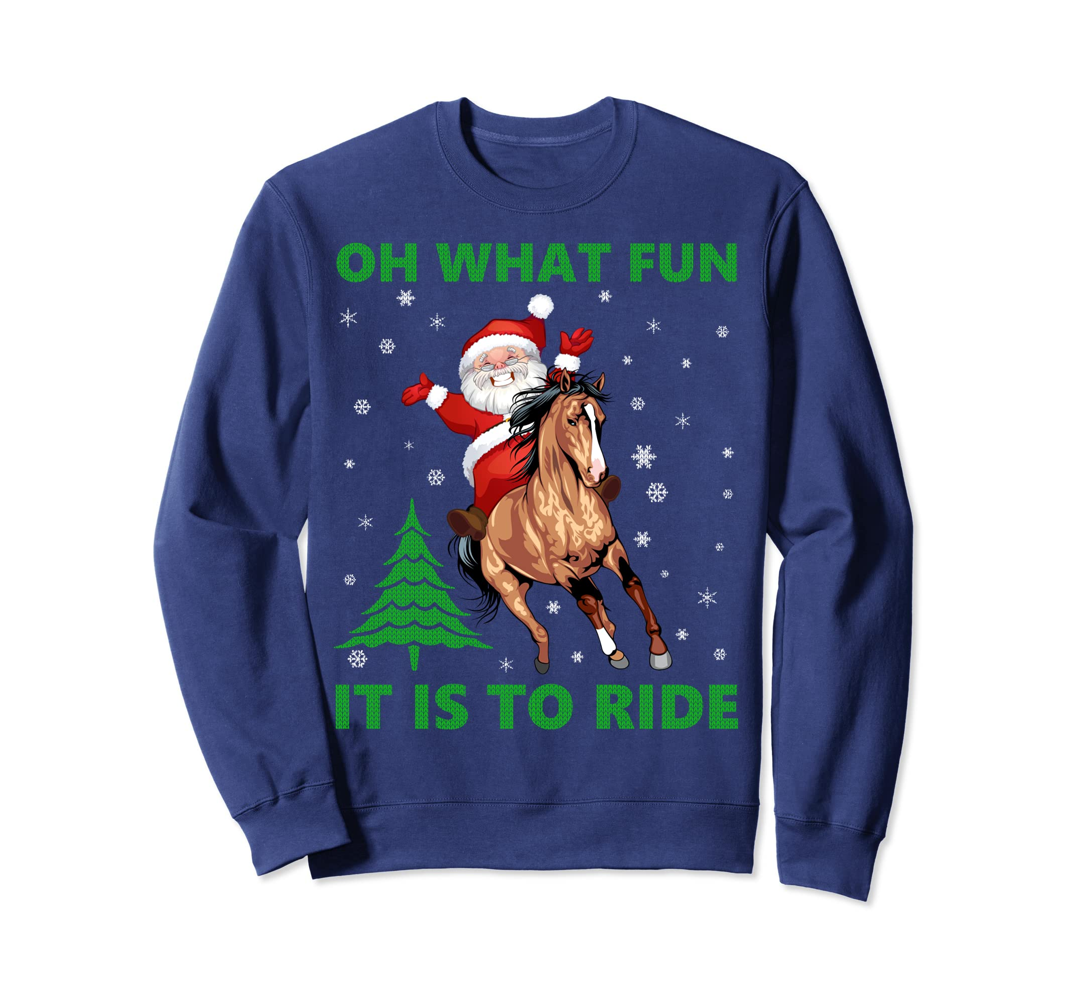 Amazon com funny horse rider santa claus ugly christmas sweater gifts clothing