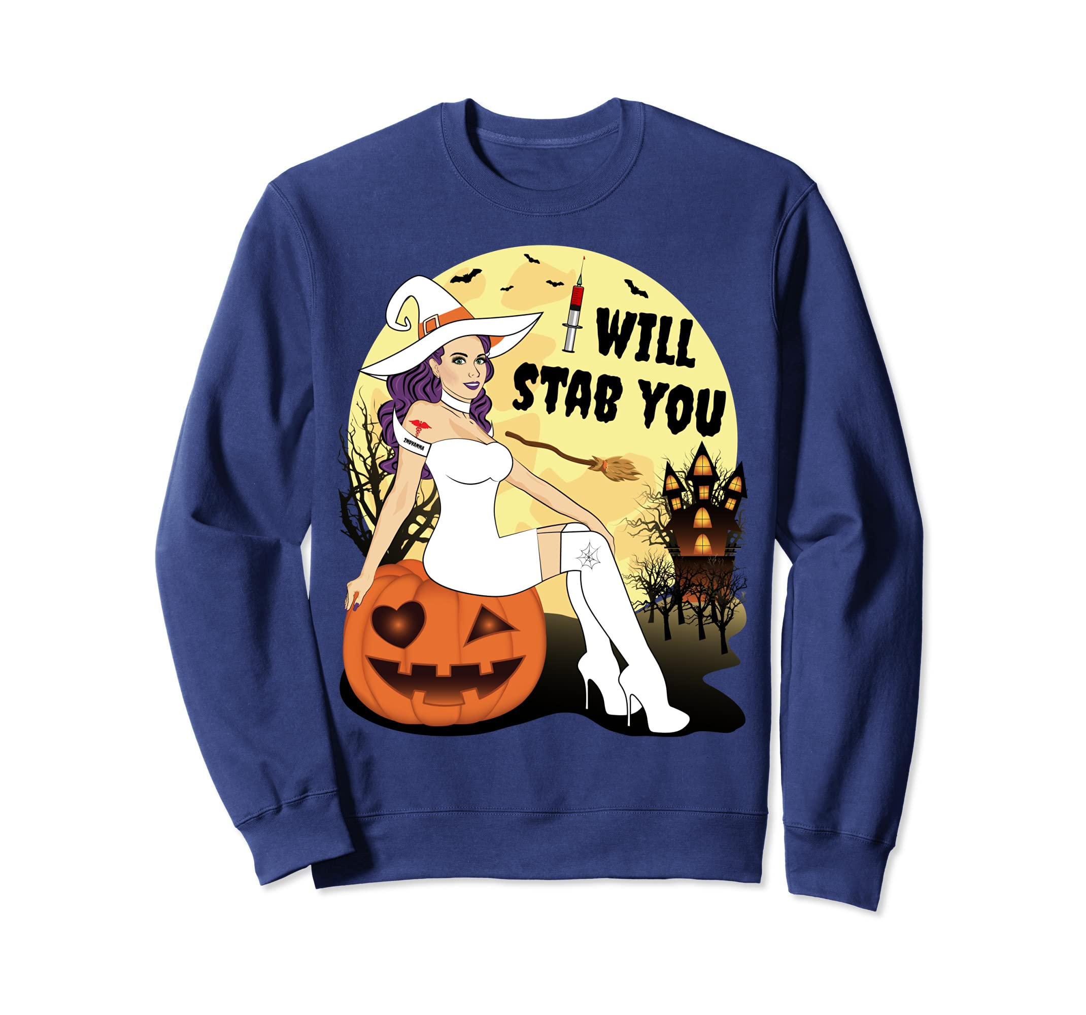 102e78ca Amazon.com: I Will Stab You Nurse Halloween Witch Sweatshirts: Clothing