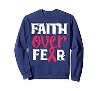 Faith Over R Breast Cancer Awareness Gift Shirts Sweatshirt Navy