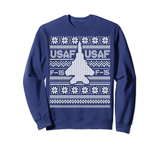 f0715ec4c951 Amazon.com  F-15 USA Ugly Christmas Sweater fighter jet usaf pilot ...