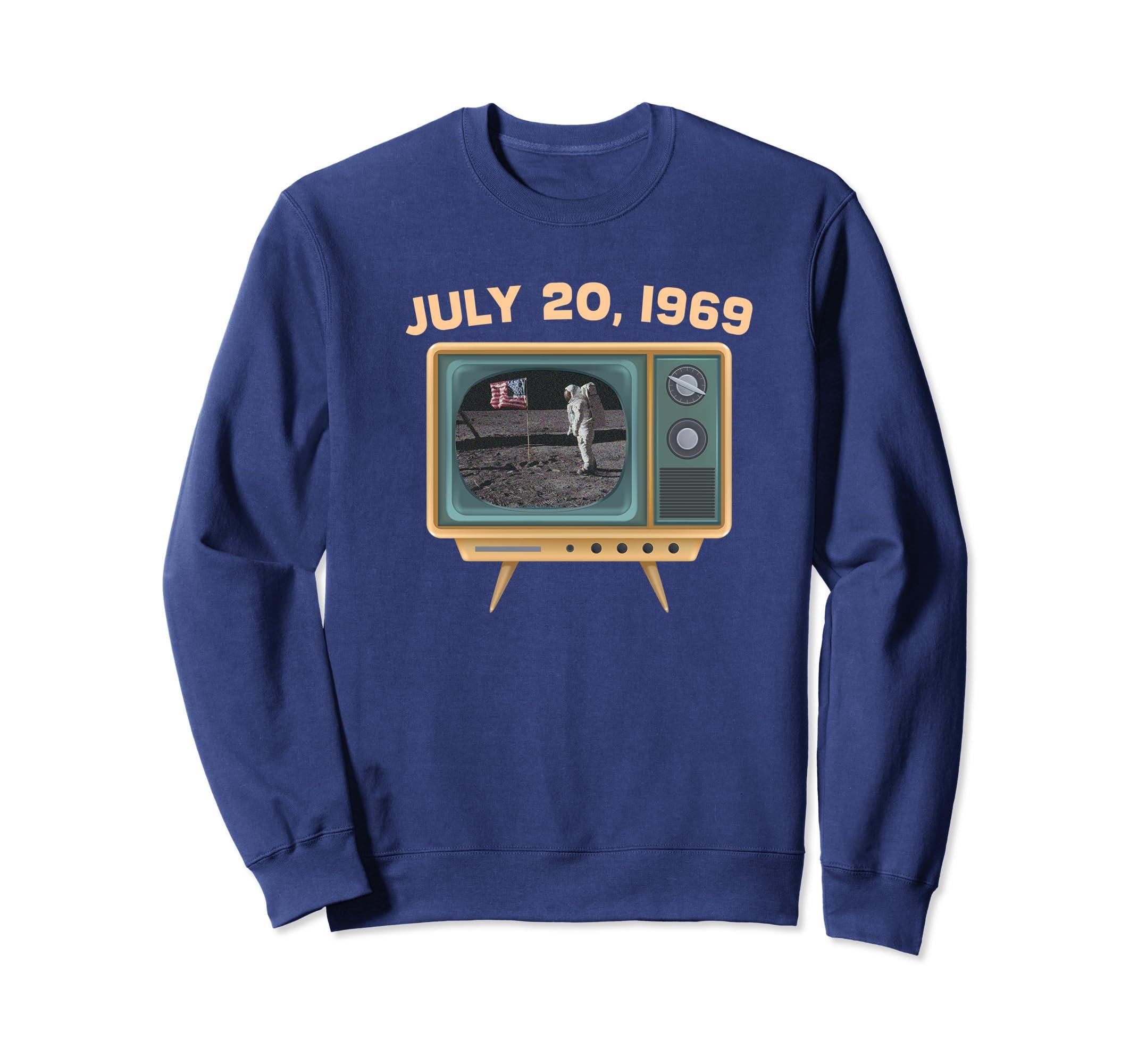1969 Vintage Look Moon Landing Sweatshirt Old TV set-SFL