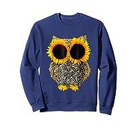 Owl Sunflower Shirt Funny Owl Lovers Shirt Sweatshirt Navy