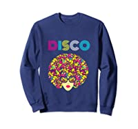 I Love Music Dancer Retro Vintage Disco Ball Disco Gift T Shirt Sweatshirt Navy