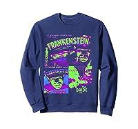 Frankenstein Colorful Collage Vintage Horror Movie Shirts Sweatshirt Navy