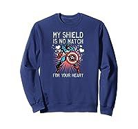 Marvel Captain America Shield Heart Valentine Shirts Sweatshirt Navy