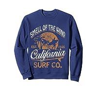 Retro Surf Shirt California Surfer Gift Cali Sweatshirt Navy