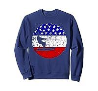 American Flag Waterskiing Vintage Retro Waterskiier Shirts Sweatshirt Navy