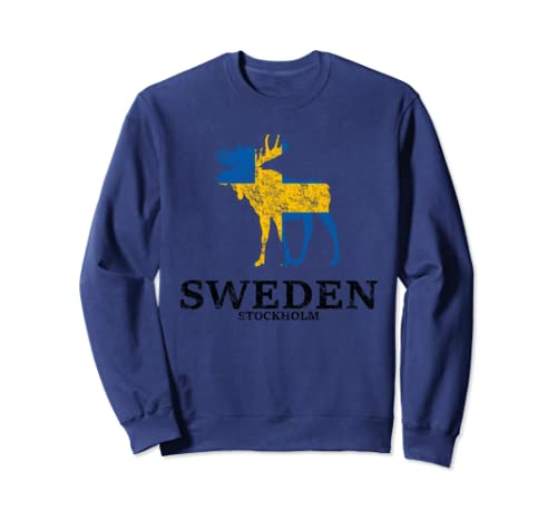 Sweden Stockholm Moose Flag Used Look Sweatshirt