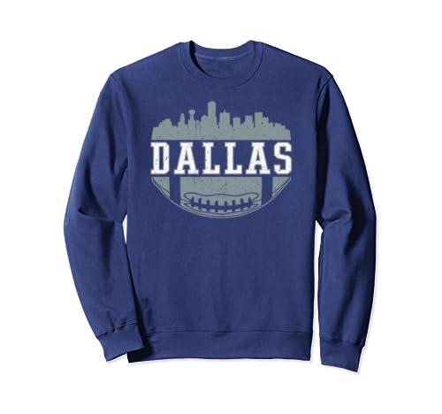 Dallas Texas Skyline Vintage Distressed Football Sweatshirt