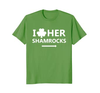 6af784b19 Image Unavailable. Image not available for. Color: Couples St. Patrick's  Day Funny T-Shirt I Love Her Shamrocks