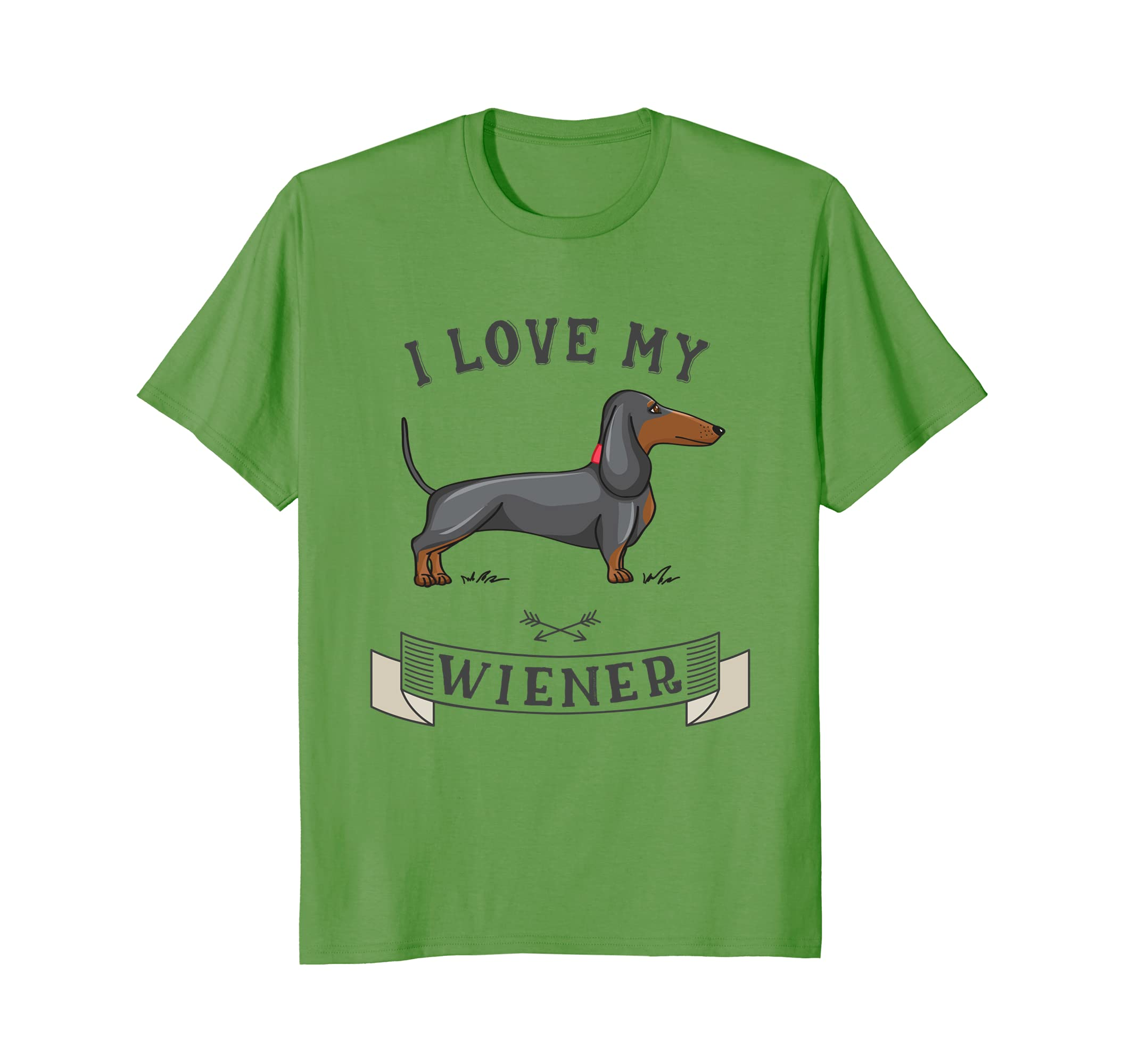 2644d369 Amazon.com: I LOVE MY WIENER T-Shirt Dachshund Weiner Dog funny gift tee:  Clothing