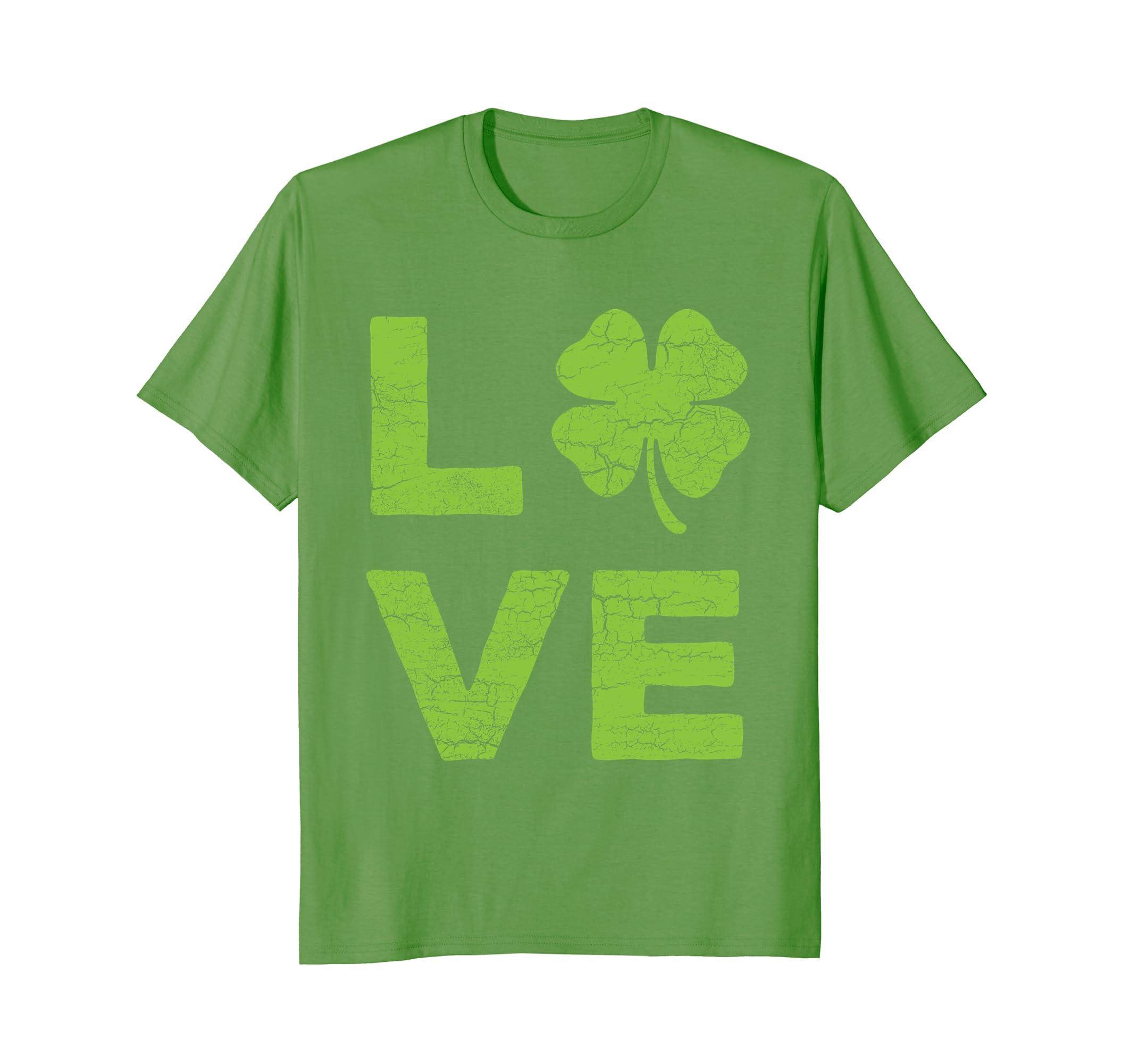 56d49687b LOVE Heart Clover Vintage Green St Patricks Day Shirt-ah my shirt one gift
