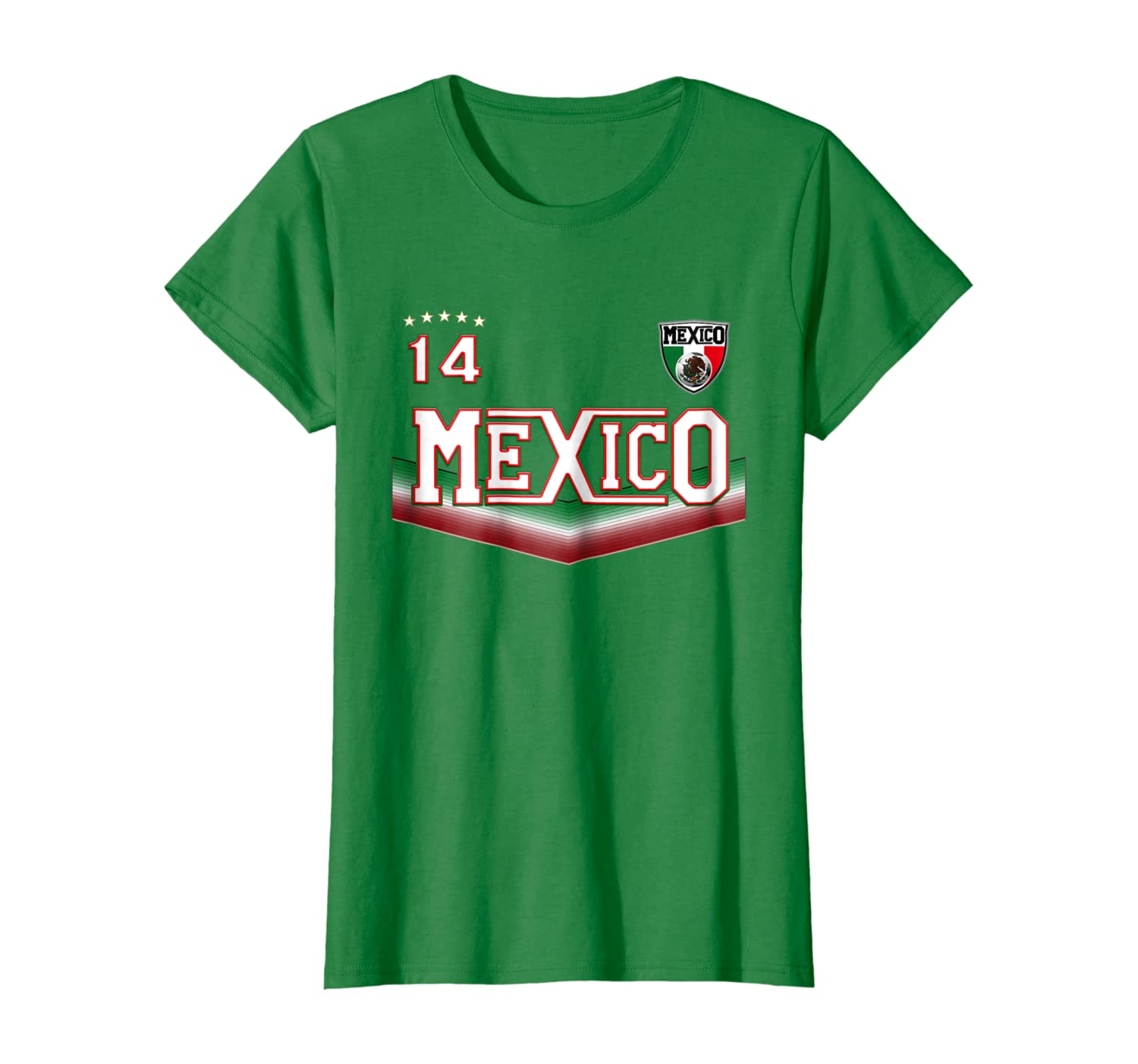 Amazon Com Mexican Soccer T Shirt With Mexico Flag Colors And Number 14 Clothing